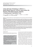 Using internet technology to deliver a home-based physical activity intervention for patients with rheumatoid arthritisA randomized controlled trial.