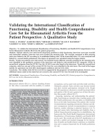 Validating the International Classification of Functioning Disability and Health Comprehensive Core Set for Rheumatoid Arthritis from the patient perspectiveA qualitative study.