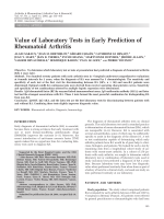 Value of laboratory tests in early prediction of rheumatoid arthritis.