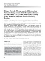 Disease activity measurement of rheumatoid arthritisComparison of the simplified disease activity index SDAI and the disease activity score including 28 joints DAS28 in daily routine.