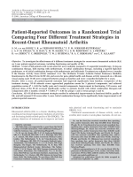 Patient-reported outcomes in a randomized trial comparing four different treatment strategies in recent-onset rheumatoid arthritis.