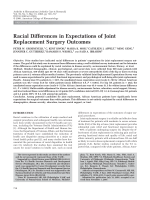 Racial differences in expectations of joint replacement surgery outcomes.