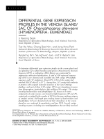 Differential gene expression profiles in the venom glandsac of Orancistrocerus drewseni HymenopteraEumenidae.