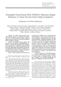 Neutrophils from patients with TNFRSF1A mutations display resistance to tumor necrosis factorinduced apoptosisPathogenetic and clinical implications.