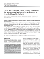 Use of the sharp and larsen scoring methods in the assessment of radiographic progression in juvenile idiopathic arthritis.