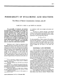 Permeability of hyaluronic acid solutions.