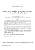 Repeated physical disturbances and the stability of sub-tropical coral communities in Hong Kong  China.