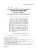 The Aberrant Expressions of Nuclear Matrix Proteins During the Apoptosis of Human Osteosarcoma Cells.