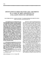 Spontaneous rheumatoid-like arthritis in a line of mice sensitive to collagen-induced arthritis.