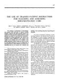 The use of trained patient instructors for teaching and assessing rheumatologic care.