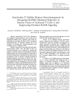 Interleukin-27 inhibits human osteoclastogenesis by abrogating RANKL-mediated induction of nuclear factor of activated T cells c1 and suppressing proximal RANK signaling.