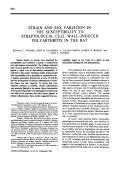 STRAIN and sex variation in the susceptibility to streptococcal CELL WALLINDUCED POLYARTHRITIS IN THE RAT.