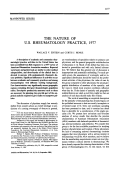 The nature of u.s. rheumatology practice 1977