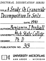 A STUDY OF CYANAMIDE DECOMPOSITION IN SOILS