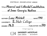 MINERAL AND COLLOIDAL CONSTITUTION OF SOME GEORGIA KAOLINS