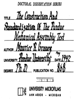 THE CONSTRUCTION AND STANDARDIZATION OF THE PURDUE MECHANICAL ASSEMBLY TEST