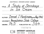A STUDY OF SHRINKAGE IN ICE CREAM
