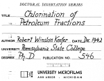 CHLORINATION OF PETROLEUM FRACTIONS